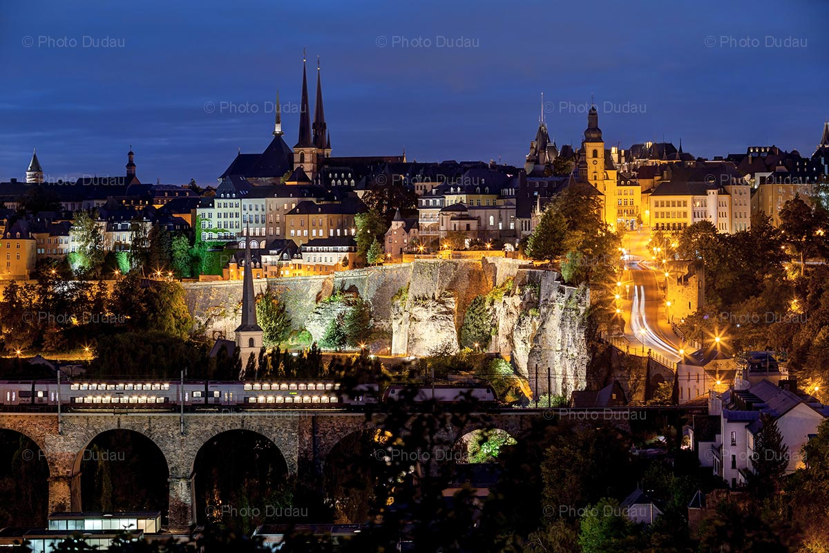 Luxembourg city skyline at night photo