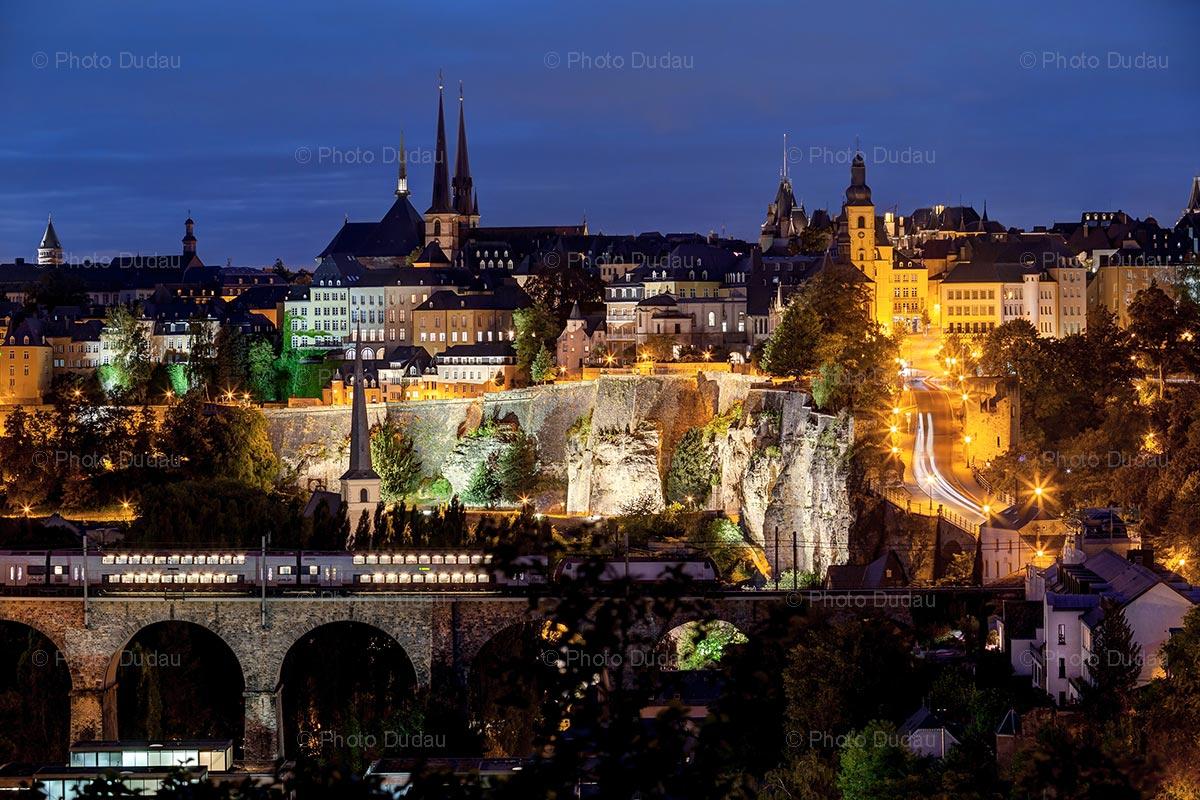 Luxembourg city skyline at night photo