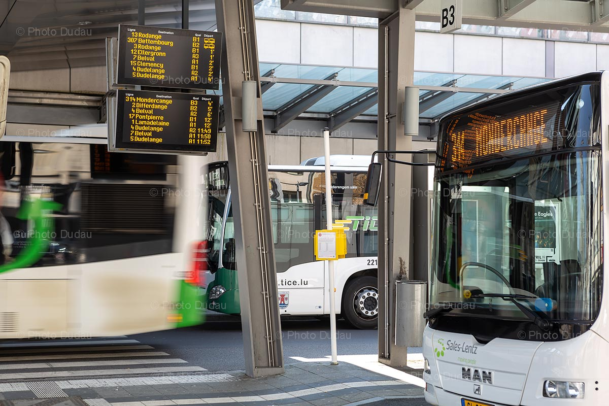 Bus departure board in Esch-sur-Alzette