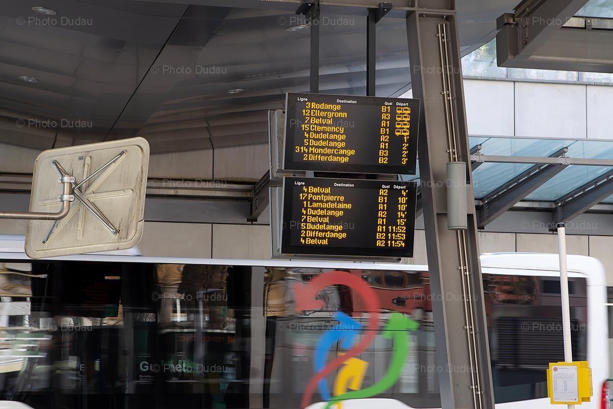 Bus departure board in Esch-sur-Alzette