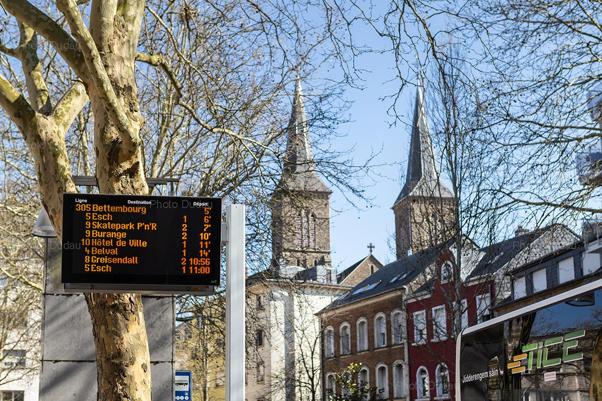 Bus departure board in Dudelange