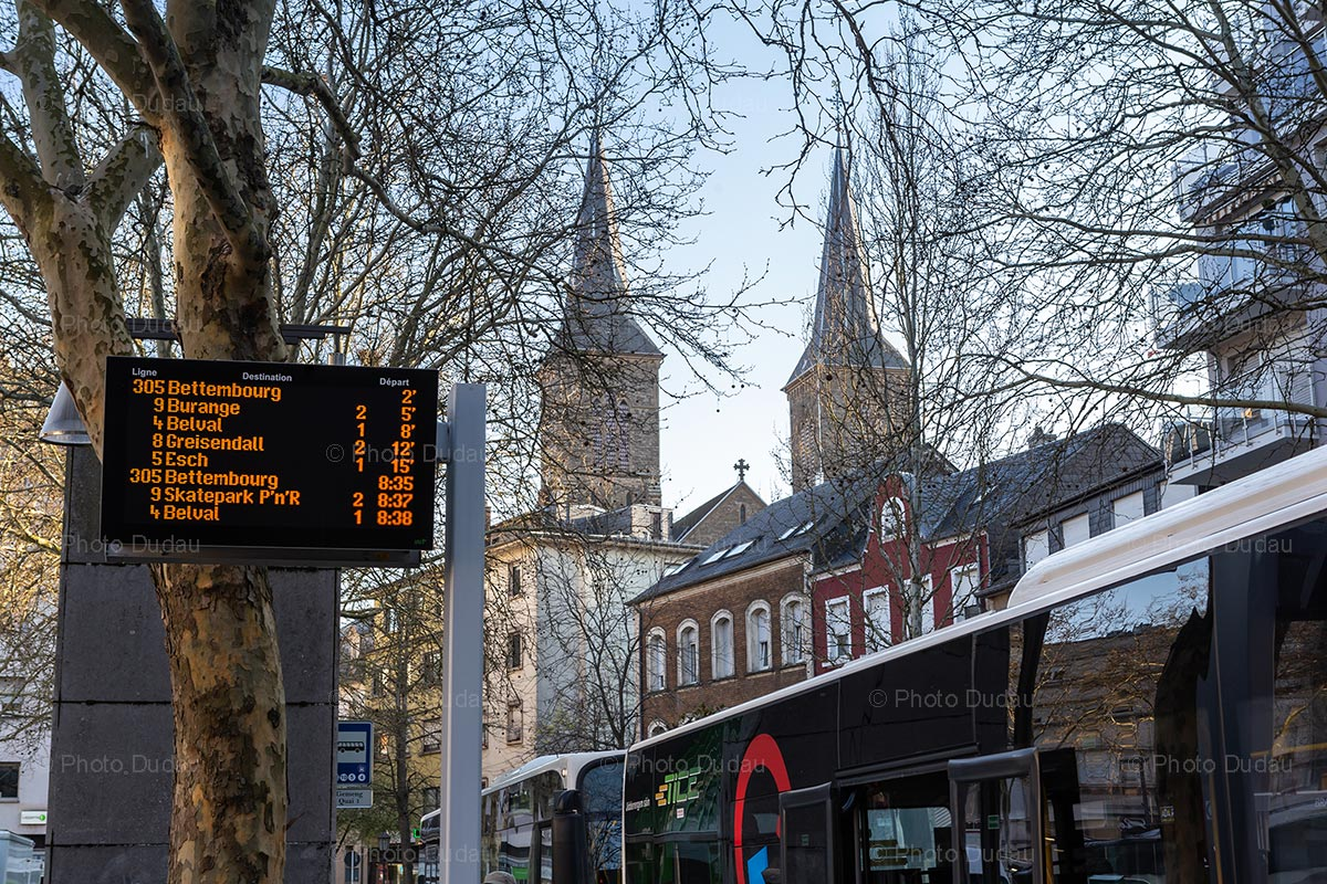 Bus departure board in Dudelange