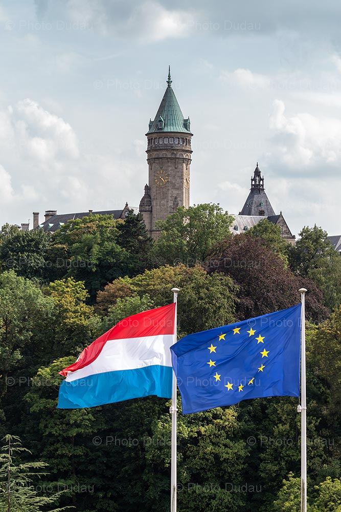 European and Luxembourgish flags in Luxembourg city
