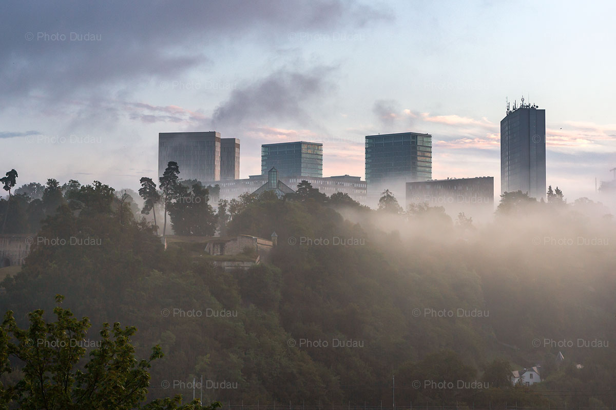 Fog over Kirchberg in Luxembourg city