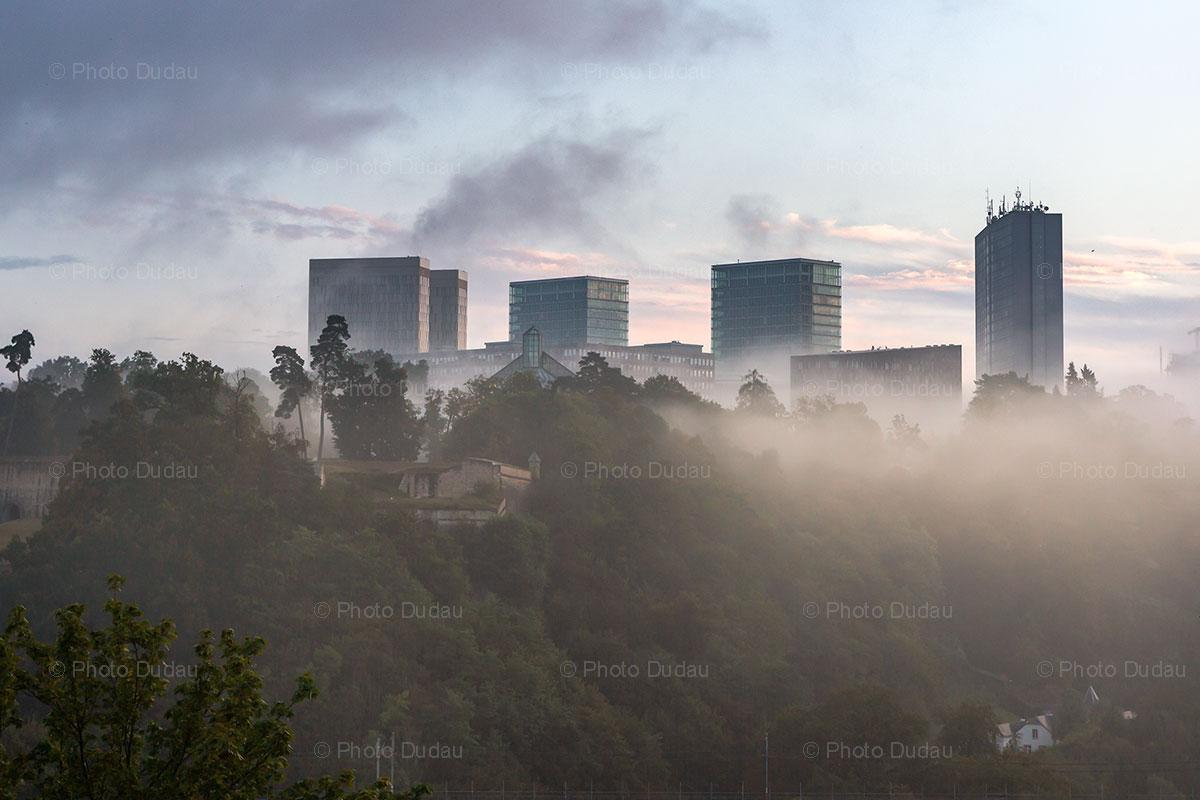 Fog over Kirchberg in Luxembourg city