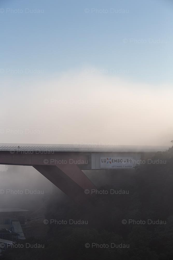 Red Bridge in foggy Luxembourg