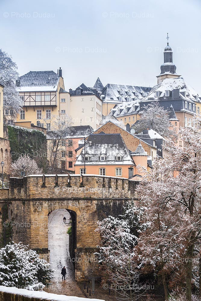 Luxembourg old town under snow