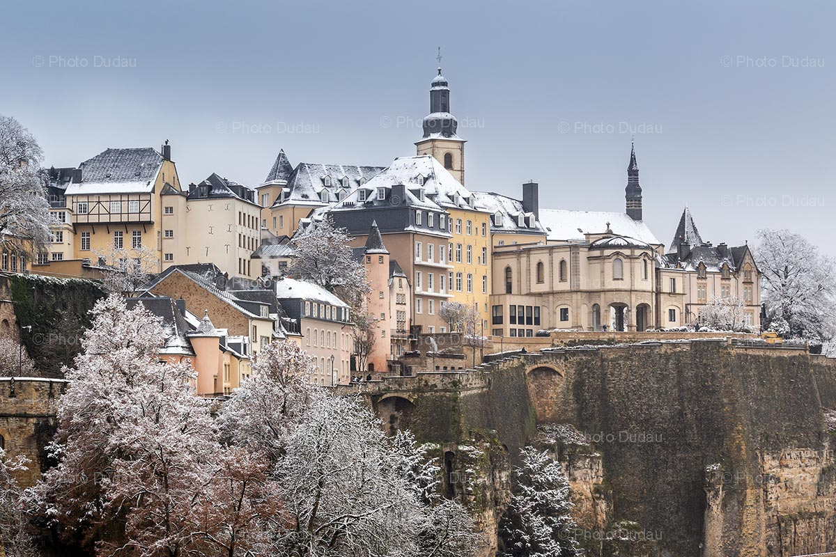 Old town in Luxembourg under snow