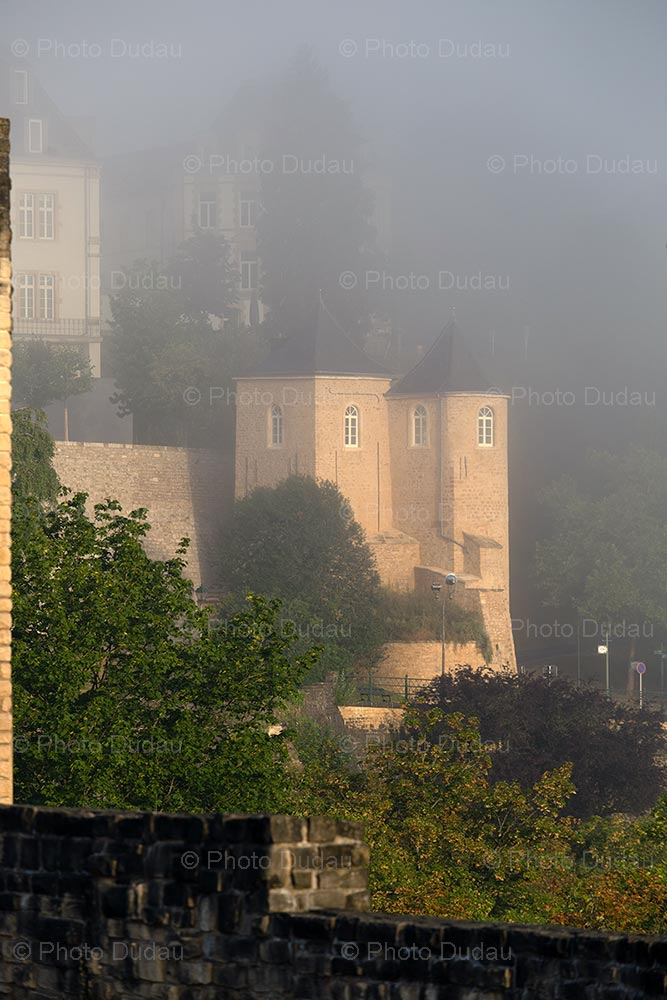 Three Towers Gate in foggy Luxembourg
