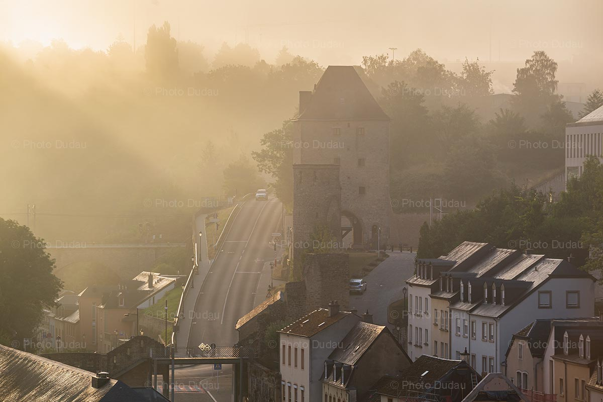 Foggy Rham Plateau in Luxembourg city