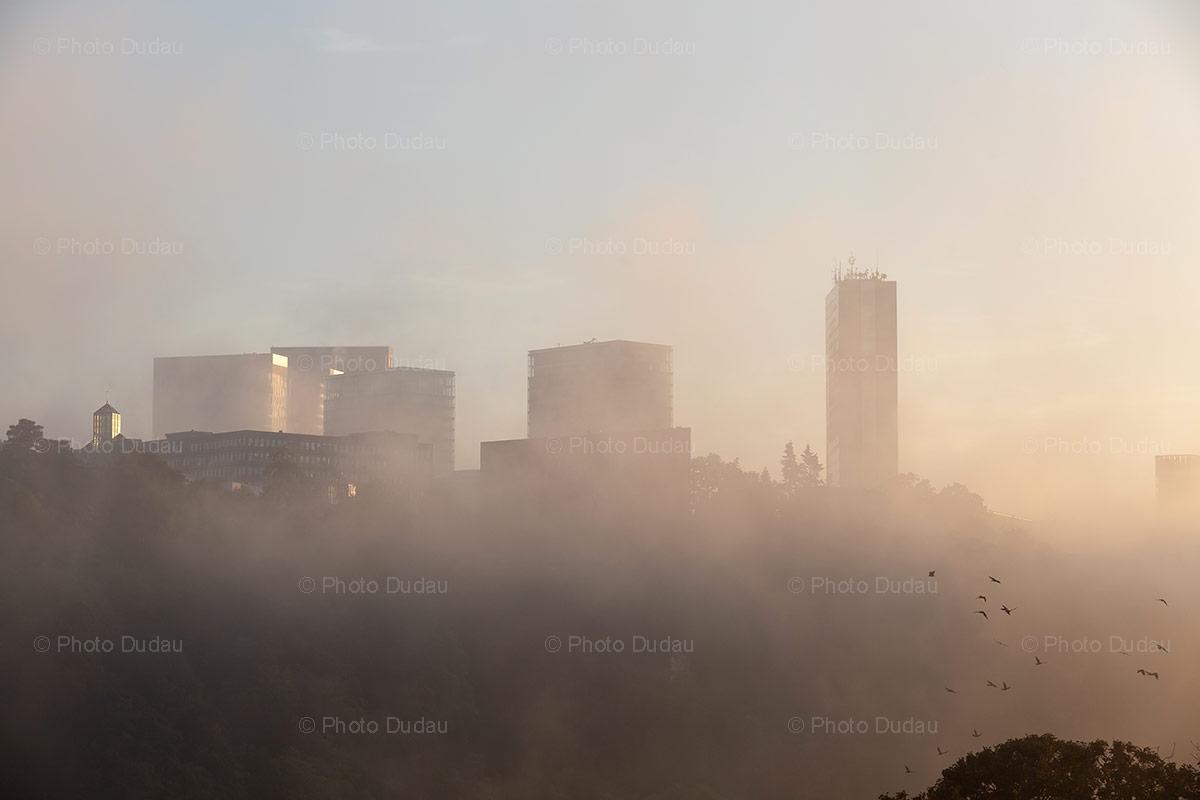 Kirchberg under fog