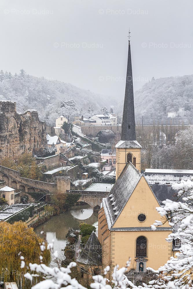 Luxembourg city under snow in winter