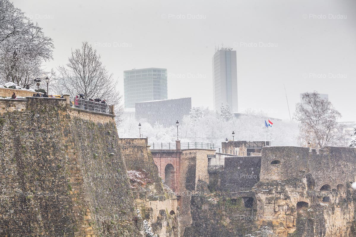 Ruins and office buildings in Luxembourg in winter