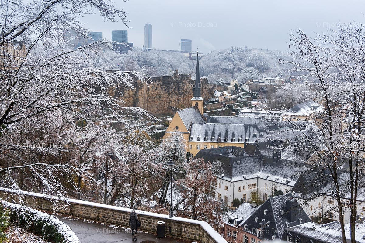 Luxembourg city old town under snow