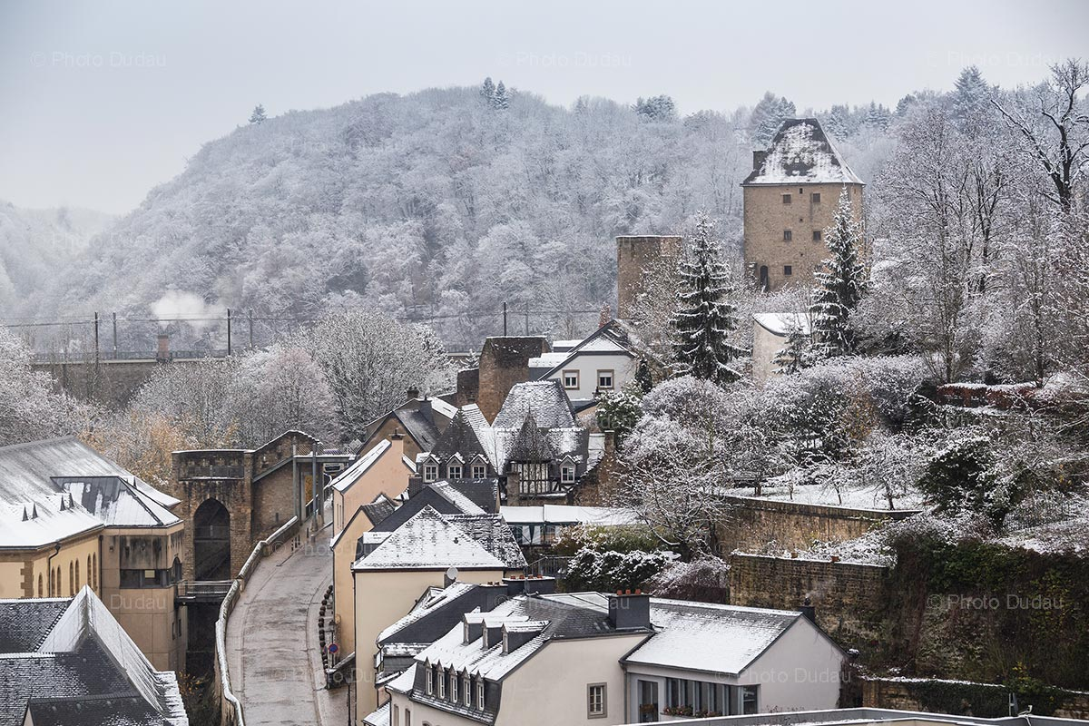 Snow over Rham Plateau in Luxembourg