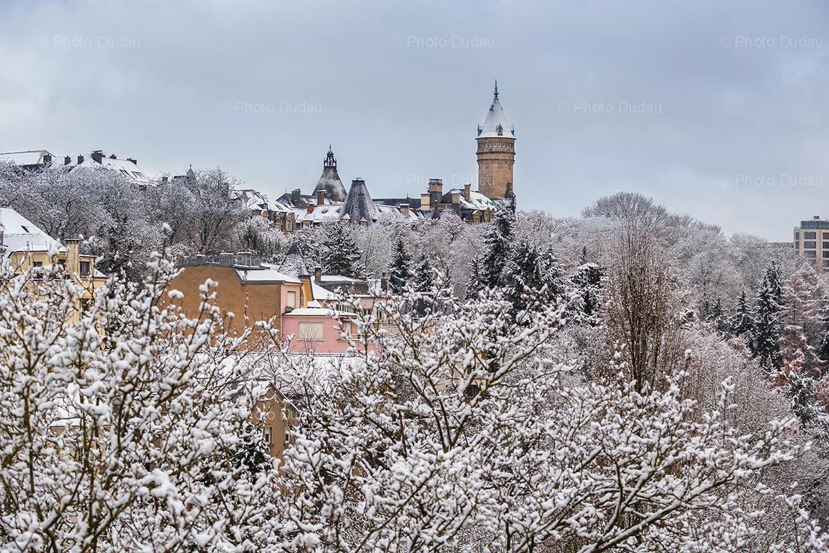Spuerkeess Tower in winter