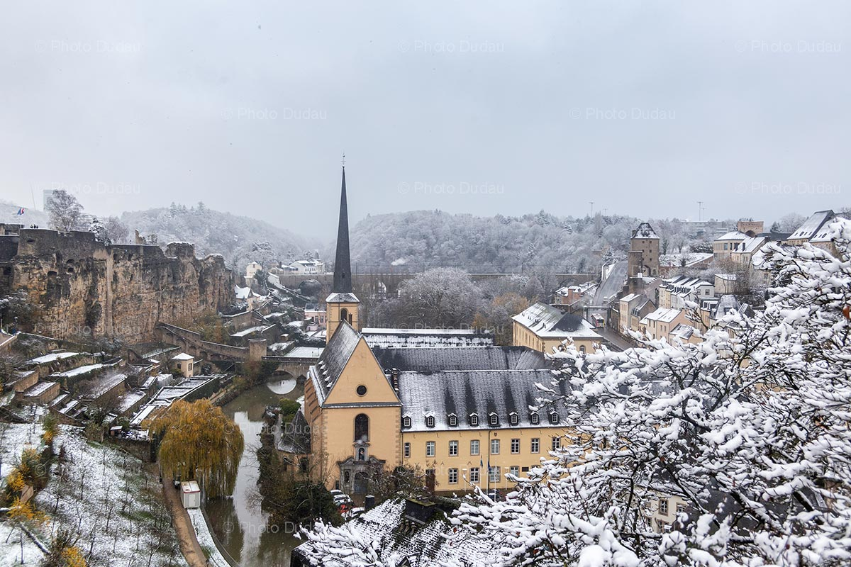 Luxembourg city Ville Basse in winter