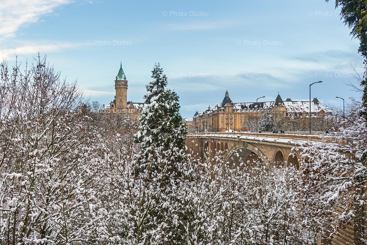 Luxembourg landmarks in winter under snow