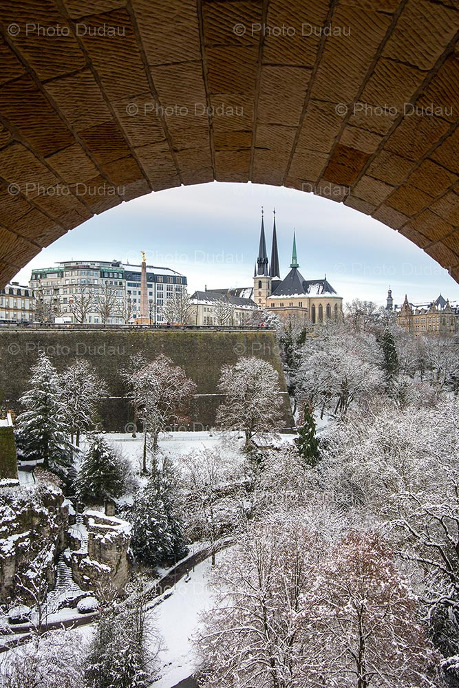 Notre Dame Cathedral and Petrusse under snow