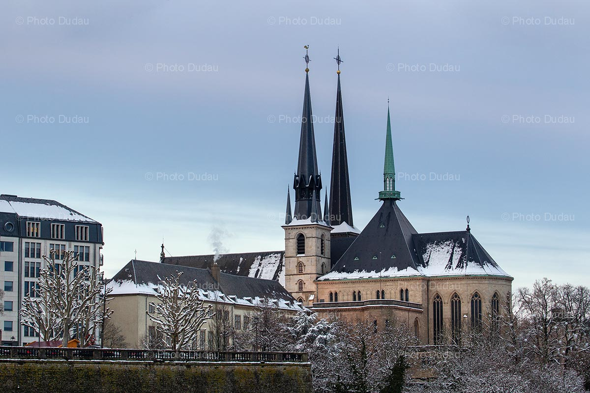 Notre Dame cathedral under snow