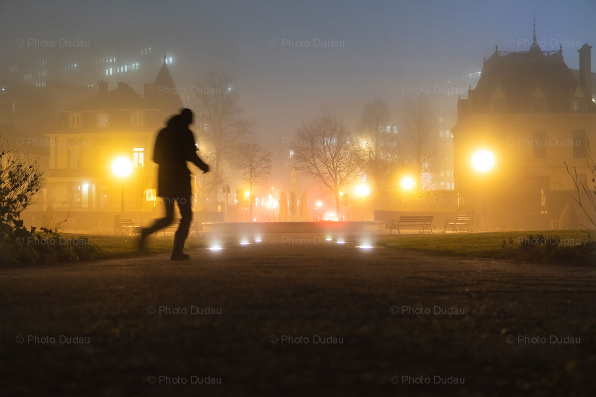 Foggy night in Luxembourg city