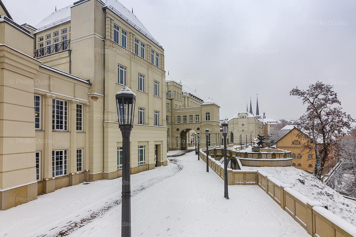 Winter snow at Justice quarter in Luxembourg