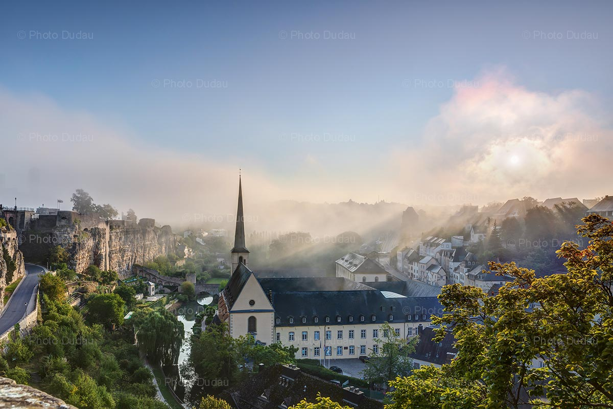 Foggy summer morning in Luxembourg city
