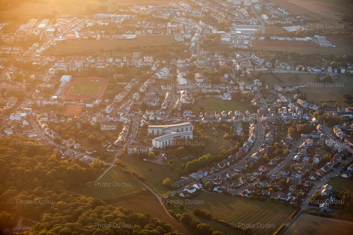 Aerial view of Dudelange at sunset