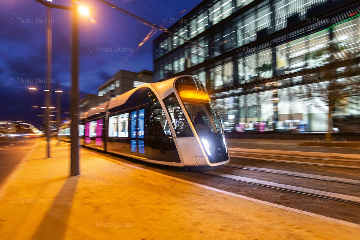 Tram in Luxembourg at night