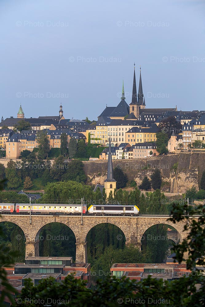 Train in Luxembourg old town