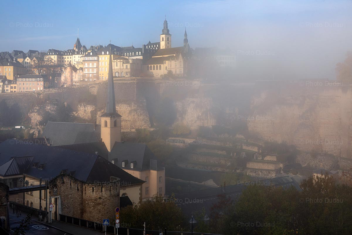 Luxembourg old town covered in fog