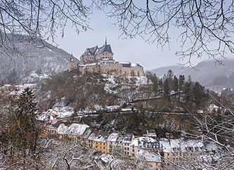 Vianden under snow in winter