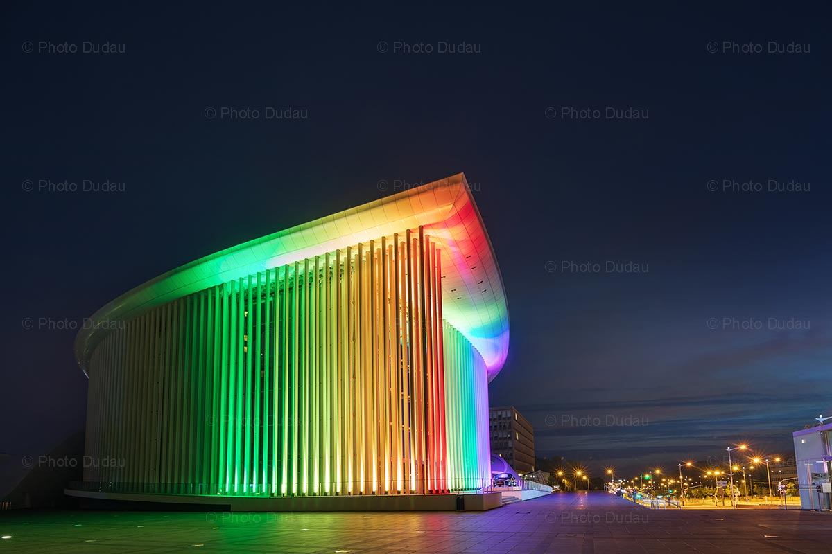Philharmonie Luxembourg with rainbow lights