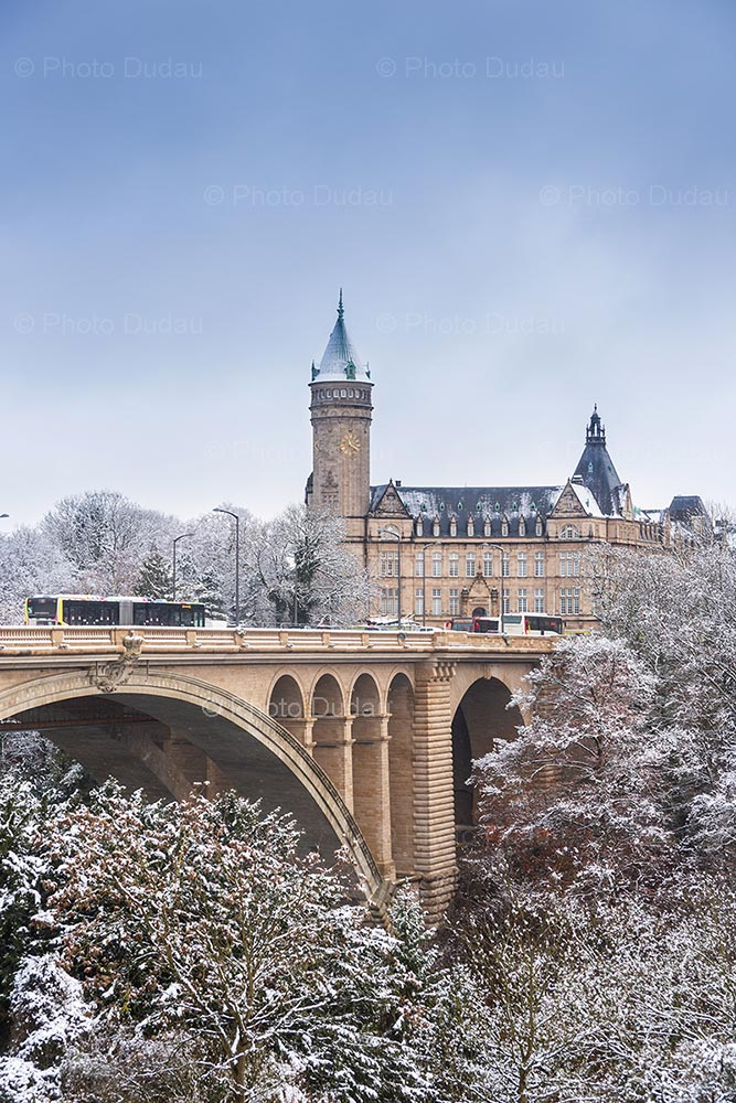 Pont Adolphe and Bank Tower under snow