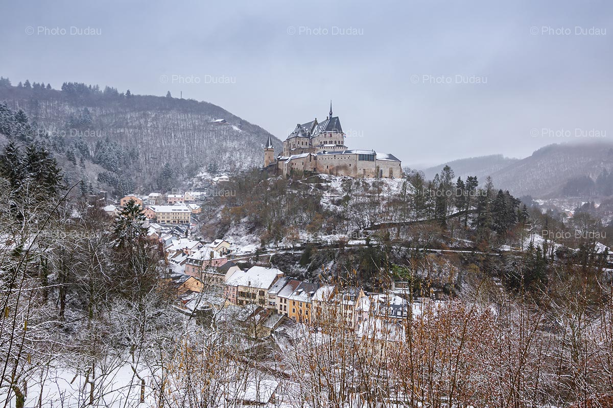 Vianden Castle and town in winter