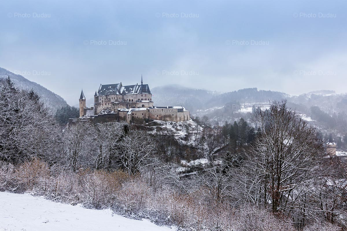 Vianden Castle under snow in winter