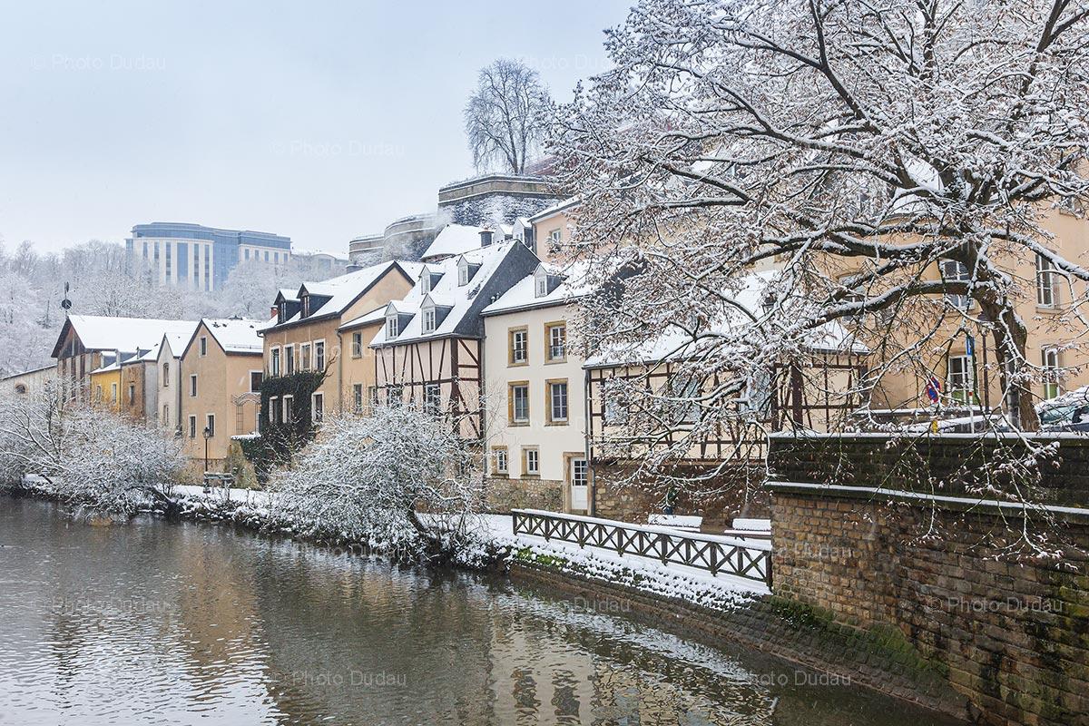 Luxembourg city Grund under snow