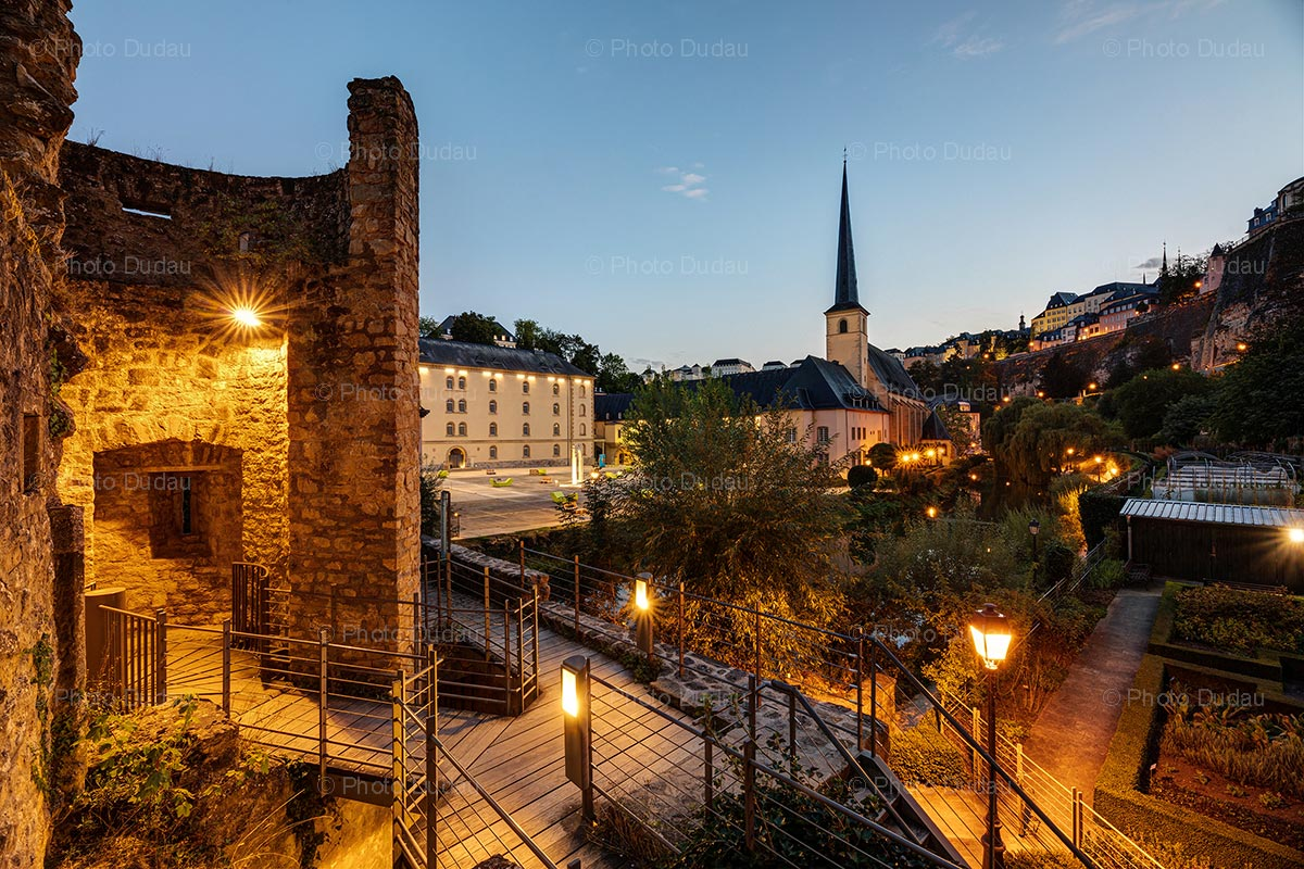 Grund in Luxembourg City at night