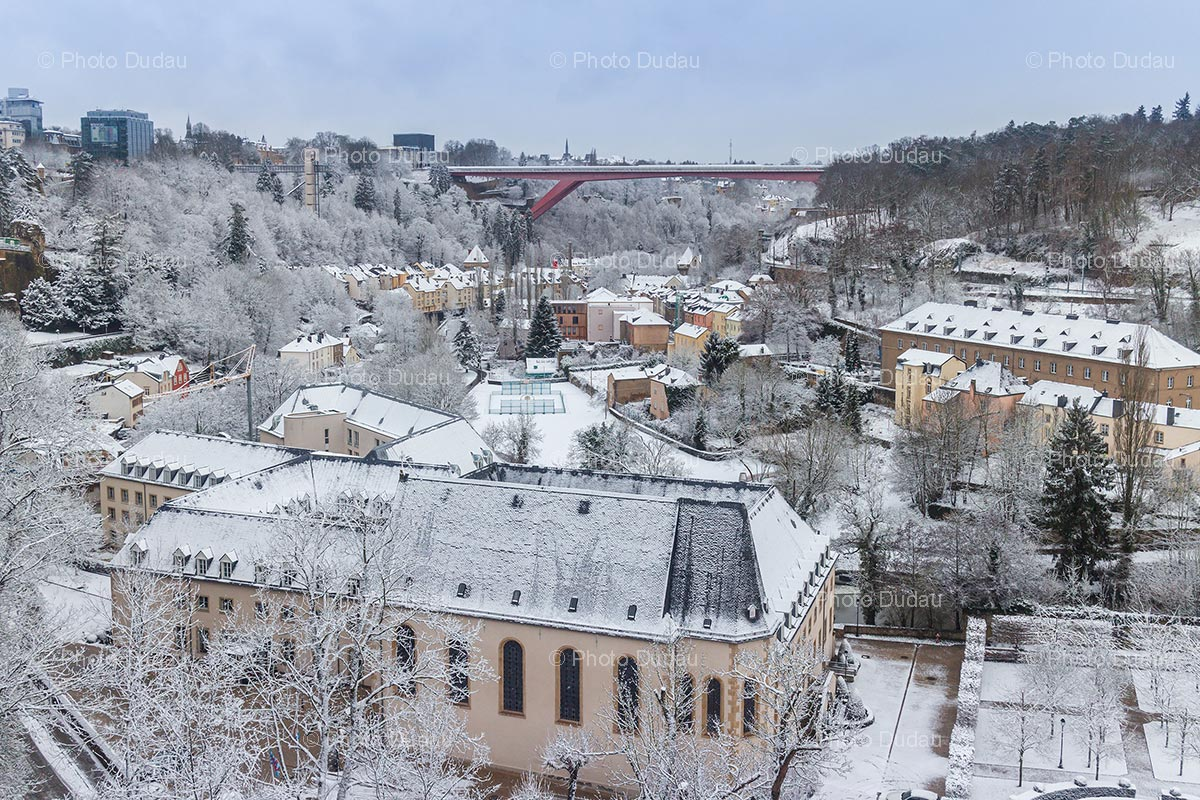 Pfaffenthal in Luxembourg city in winter