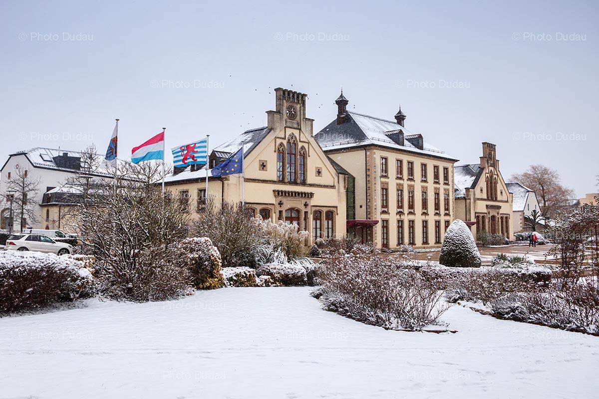 Mamer Castle in Luxembourg in winter