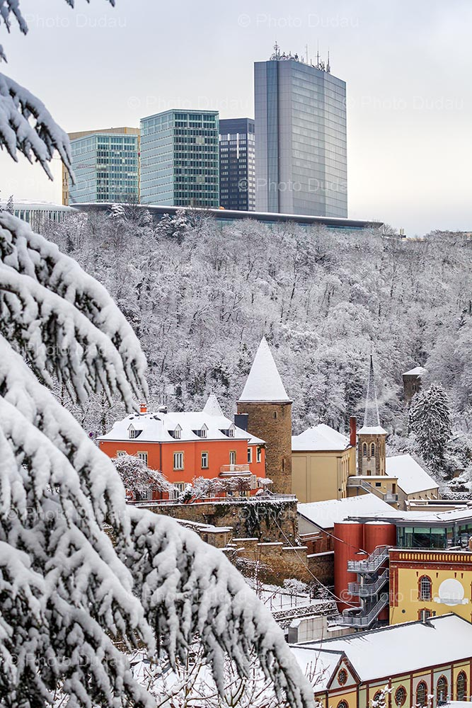 Clausen and Kirchberg under snow in winter
