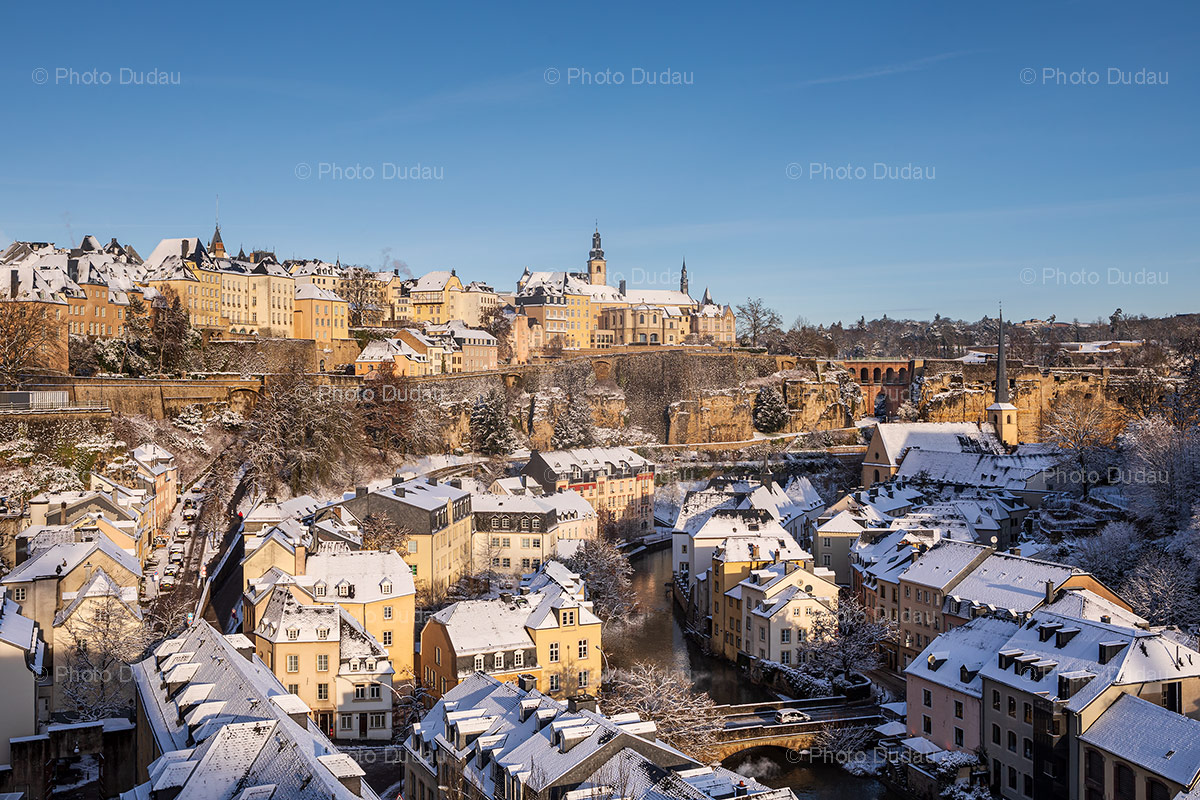 Luxembourg city covered in snow in winter