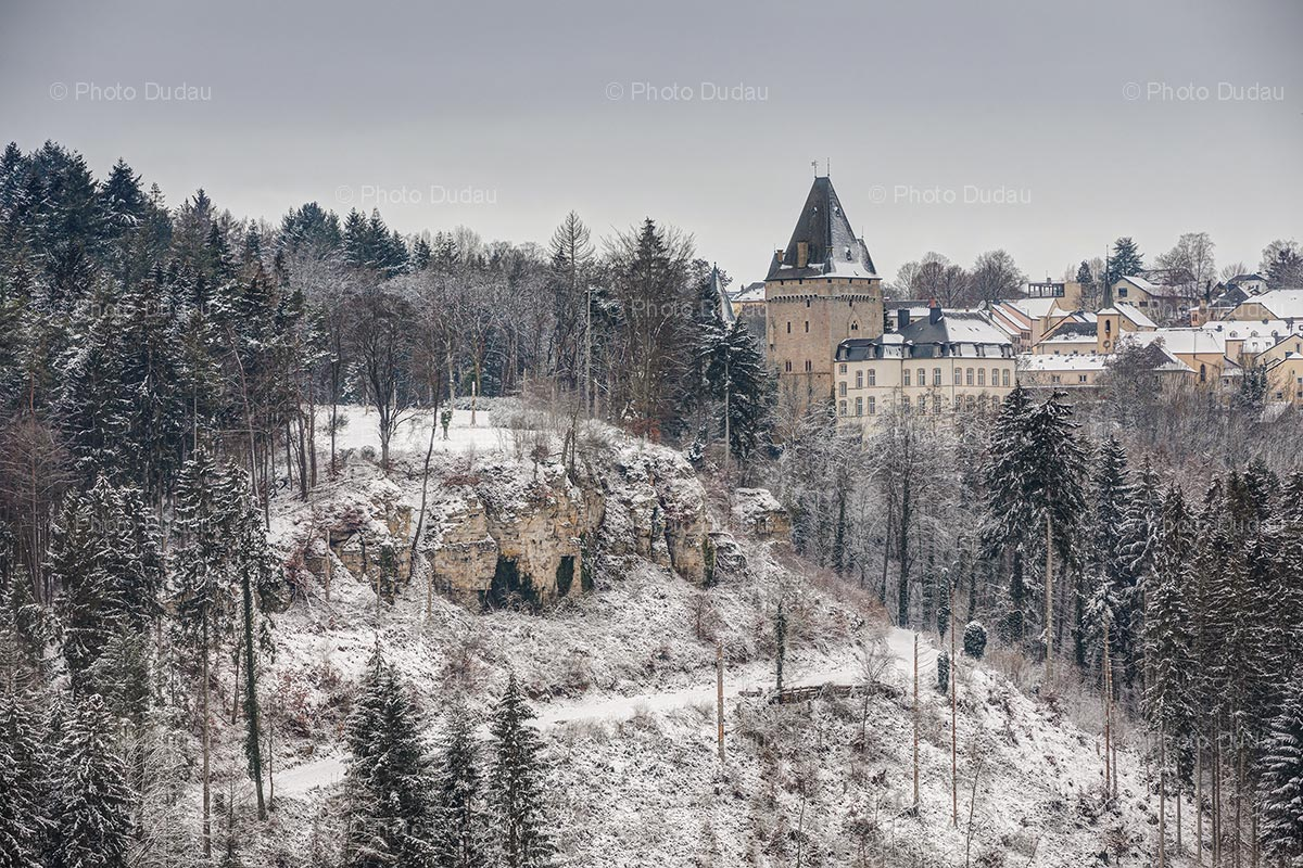 Hollenfels Castle in Luxembourg in winter