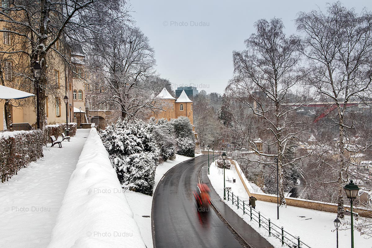 Ville Haute in Luxembourg during winter