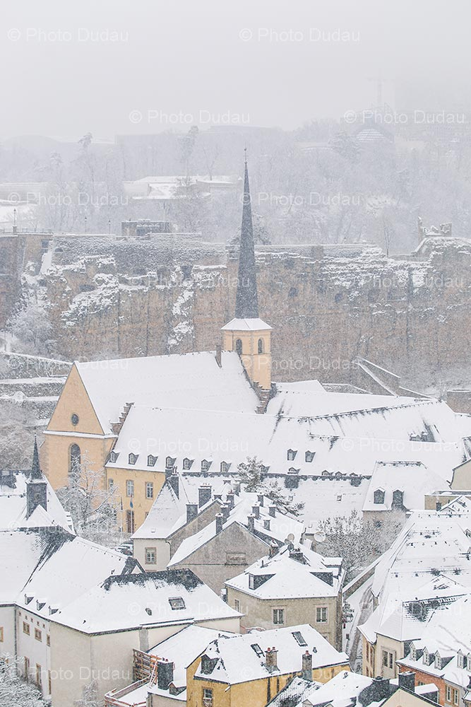 Snowfall in Luxembourg city in winter