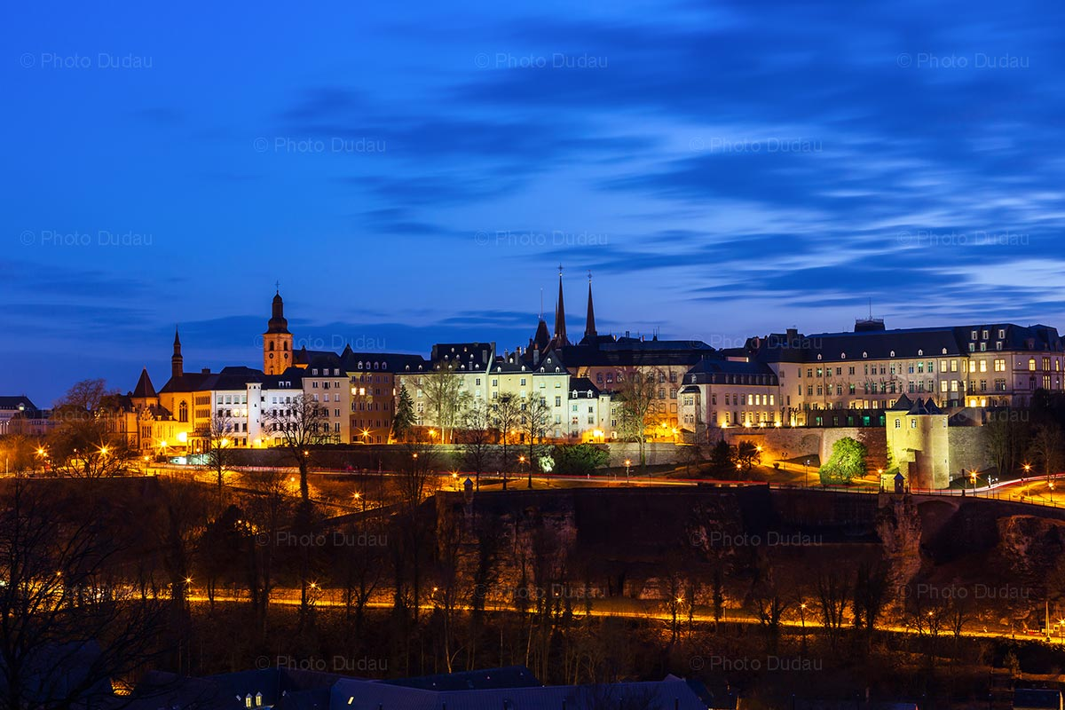 Luxembourg city skyline at night
