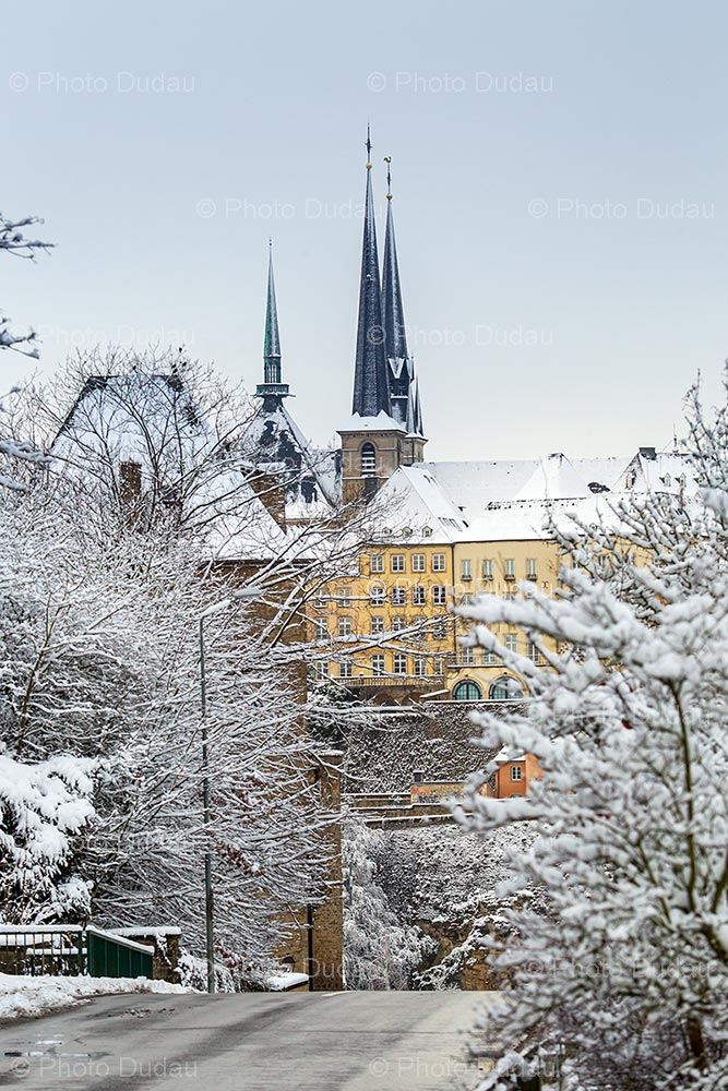 Luxembourg city in winter covered in snow
