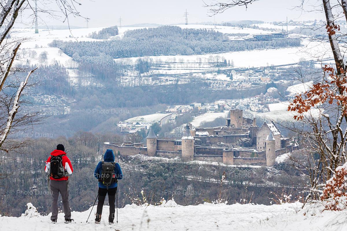 Bourscheid Castle under snow