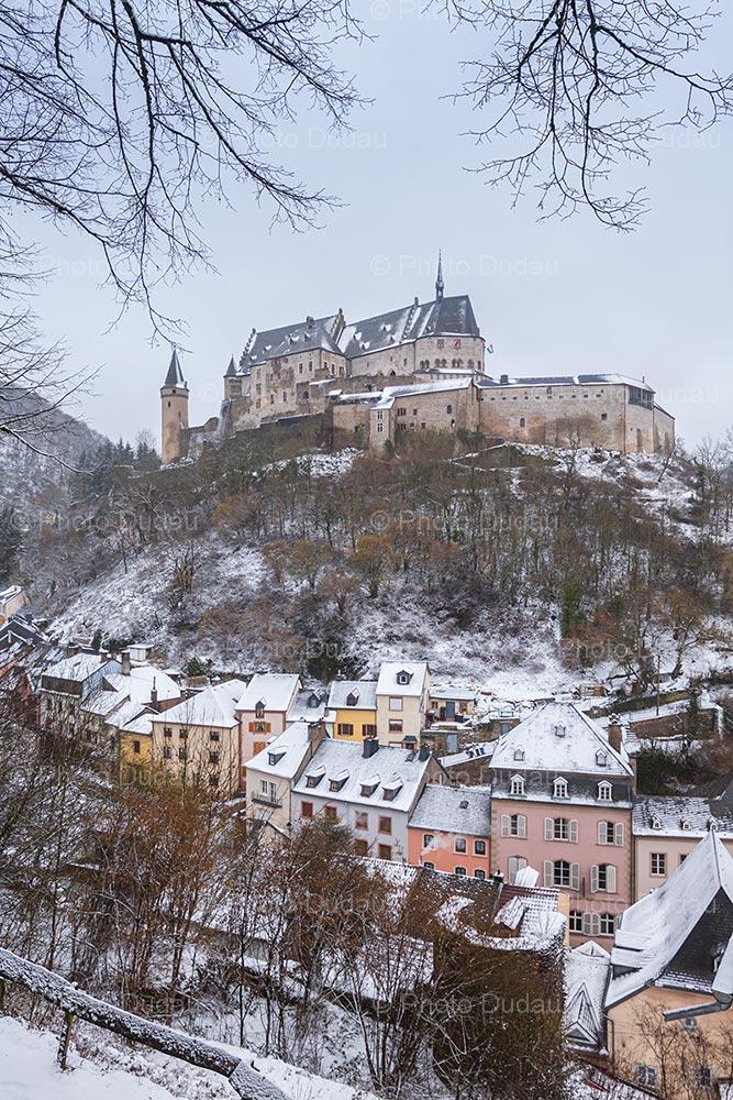 Vianden Castle under snow in winter