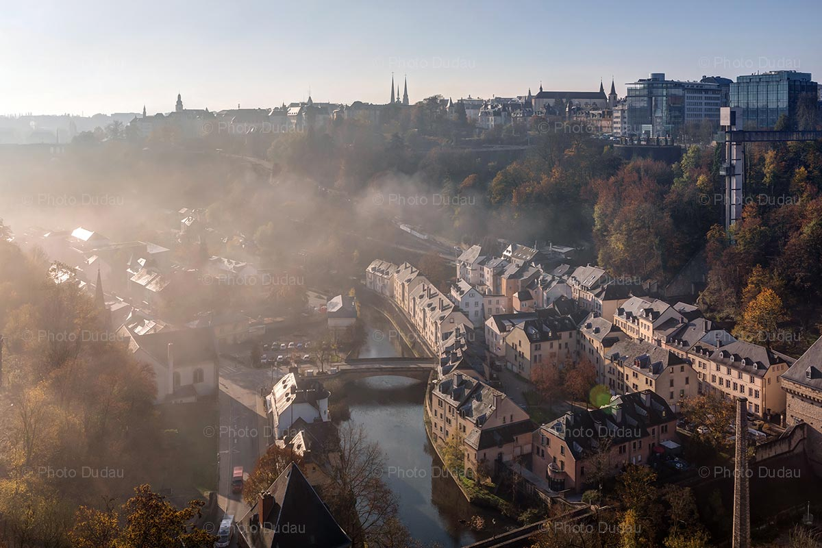 Luxembourg city on a foggy morning